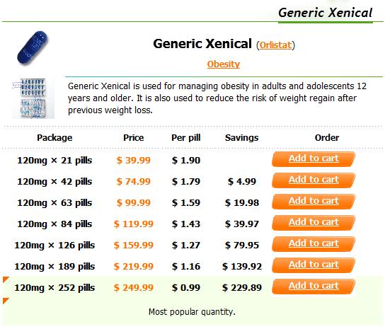 Diet pills xenical